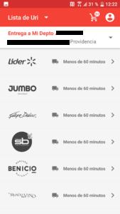 Cornershop Chile, lista de tiendas